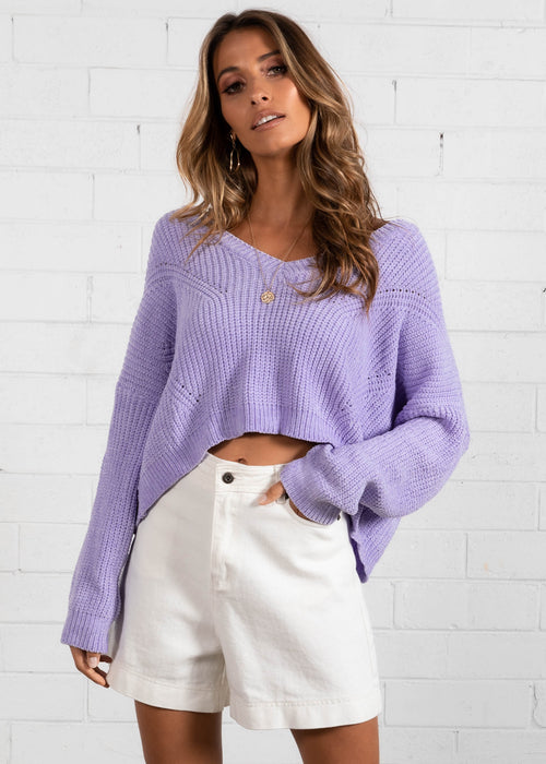 Next Up Chenille Sweater - Lilac