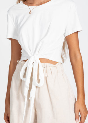 I Want It Tie Tee - White