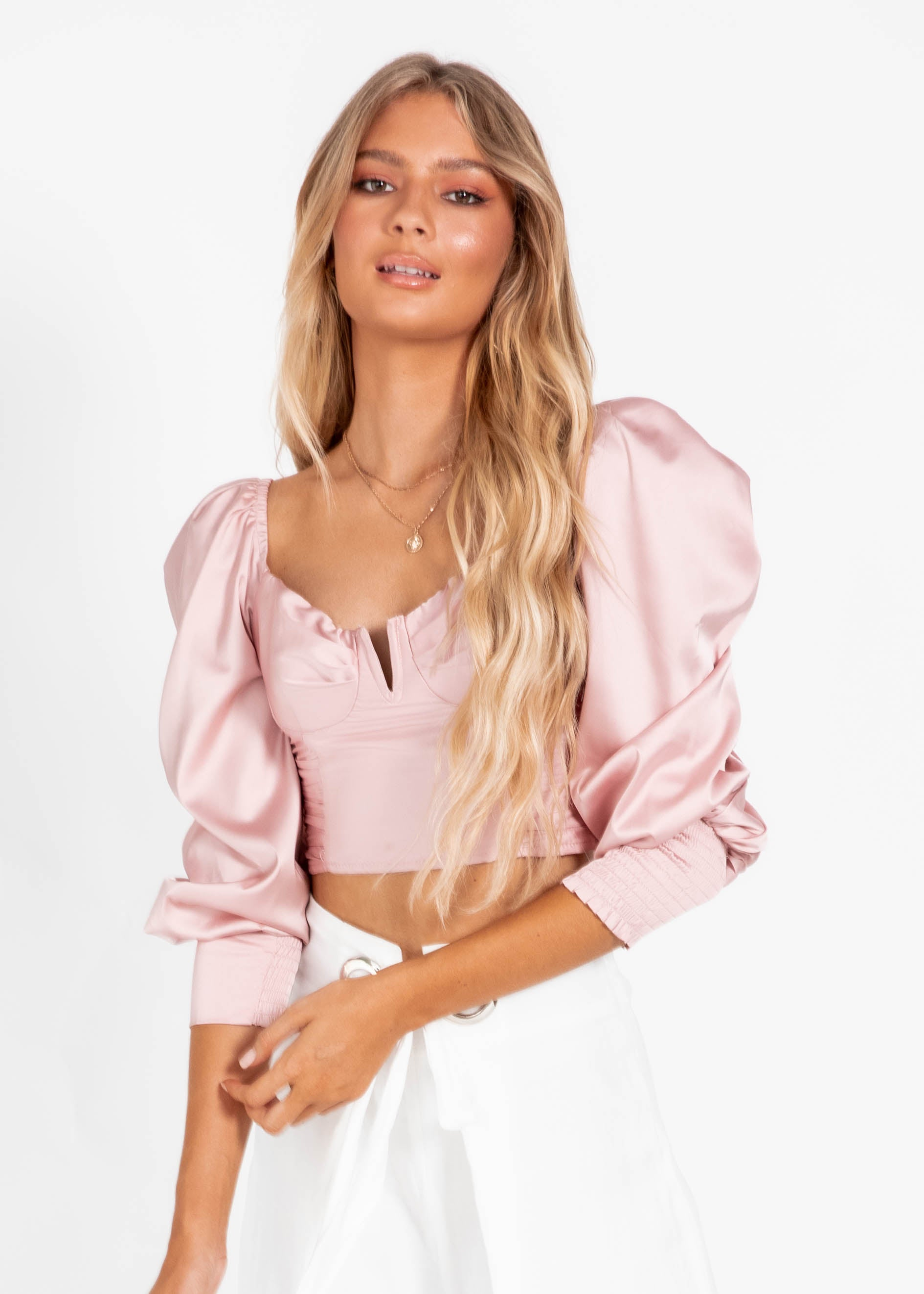 Love Hard Crop Blouse - Blush
