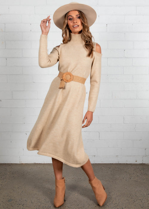 Taffy Knit Midi Dress - Cream