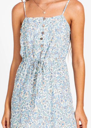 Lost For Words Midi Dress - Blue Paisley