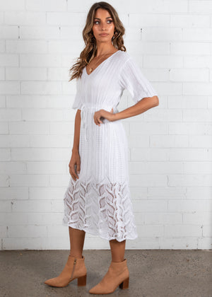 Avery Knit Midi Dress - White