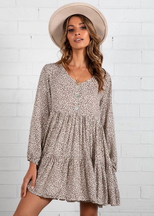 Yuliana Smock Dress - Beige Leopard