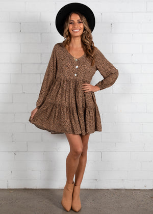 Yuliana Smock Dress - Mocha Leopard