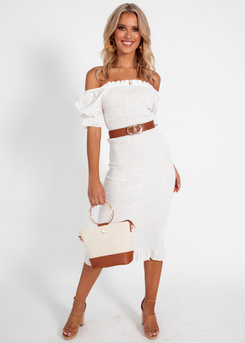 Micha Midi Dress - White