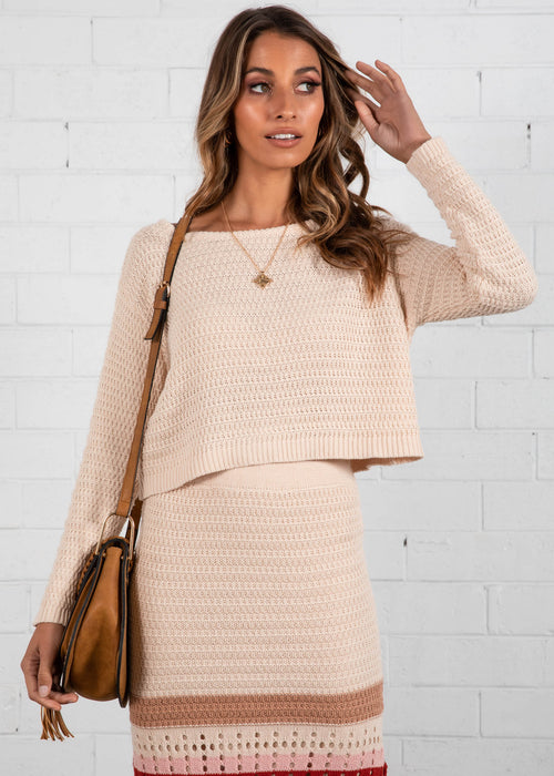 Uriah Cropped Sweater - Beige