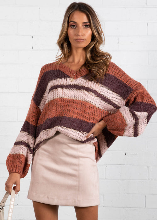 Diversion V Neck Sweater - Mixed Berry