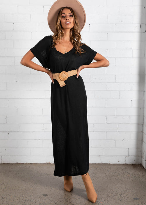 Avalon Midi Dress - Black