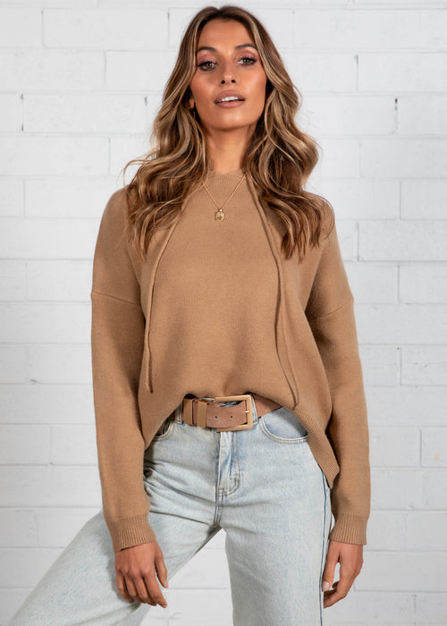 Play Hard Hooded Sweater - Camel