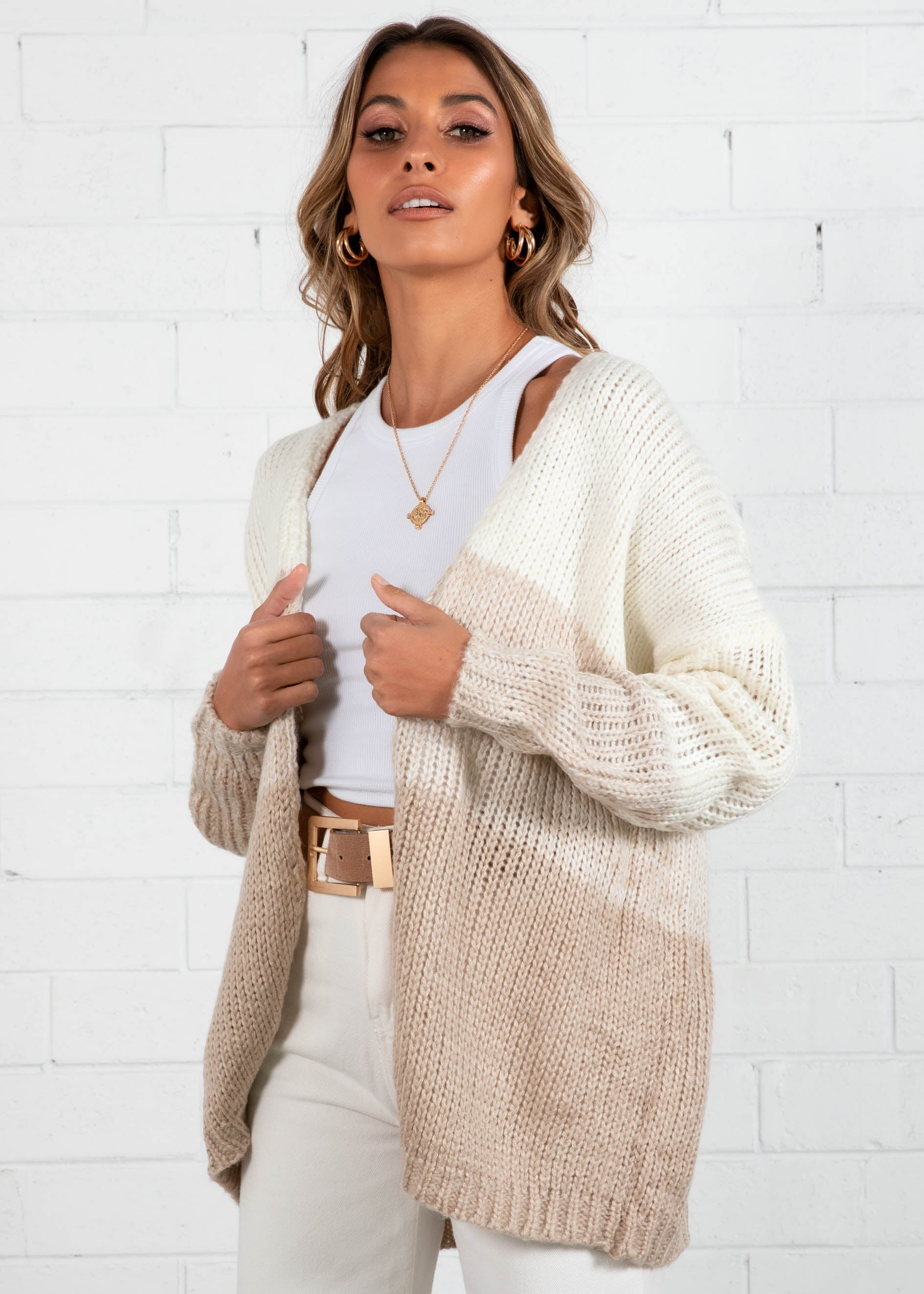 Retreat Stripe Cardi - Beige