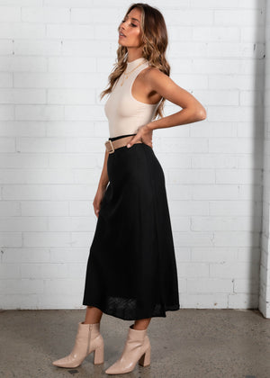 Asher Midi Skirt - Black