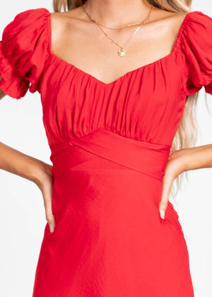 Midnight Dancer Midi Dress - Red