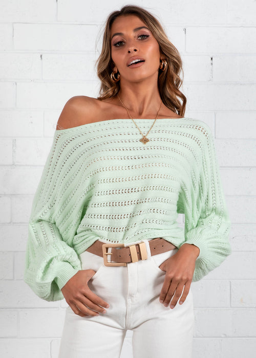 Soft Words Sweater  - Mint