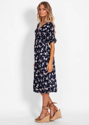Dream For Days Midi Dress - Navy Floral