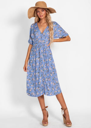 Dream For Days Midi Dress - Blue Floral