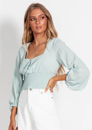 Let It Be Cropped Blouse - Sage