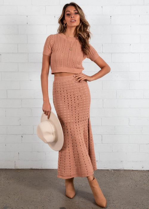 Seaside Crochet Knit Top - Rose