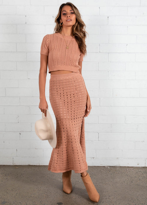 Shoreline Crochet Knit Maxi Skirt - Rose