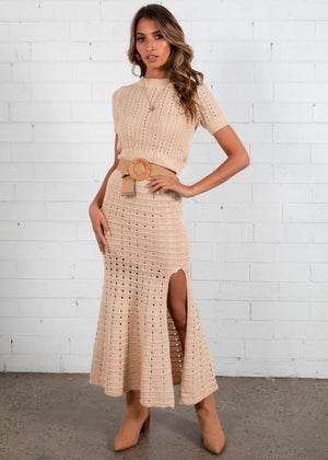 Shoreline Crochet Knit Maxi Skirt - Beige