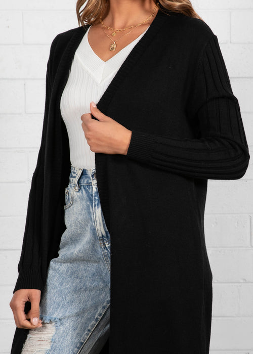 Brooklyn Long Line Cardigan - Black