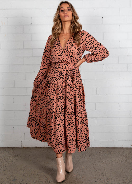 Freya Maxi Dress - Coral Leopard