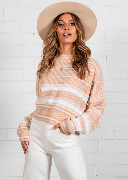 Up Next Sweater - Tan Stripe