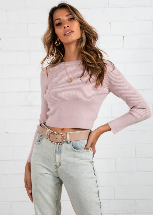 Zanzibar Cropped Knit Top - Blush