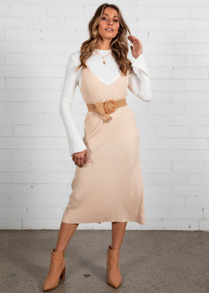 Ainsley Knit Midi Dress - Cream