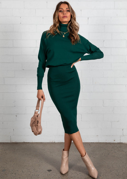 Skylah Knit Midi Dress - Emerald