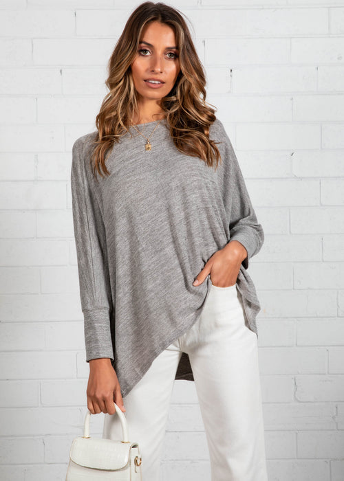 Eda Knit Top - Grey Marle