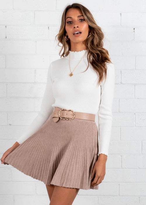 Picnic Party Knit Skirt - Latte