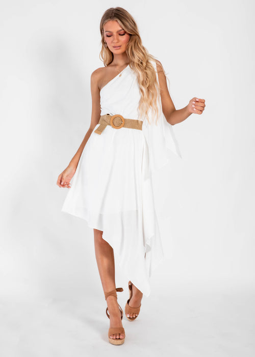 Idalia One Shoulder Dress - White