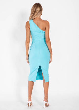 Cold Shoulder Midi Dress - Aqua