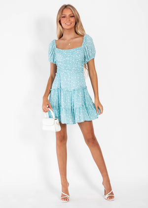 Dream More Dress  - Blue Polka