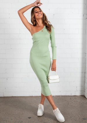 Lindsey Knit Midi Dress - Pistachio