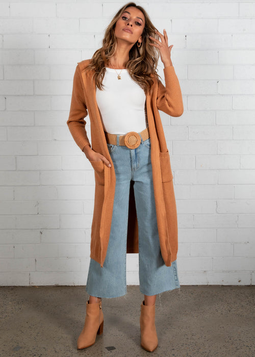 Archie Hooded Cardigan - Tan