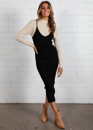 Waverley Knit Midi Dress - Black