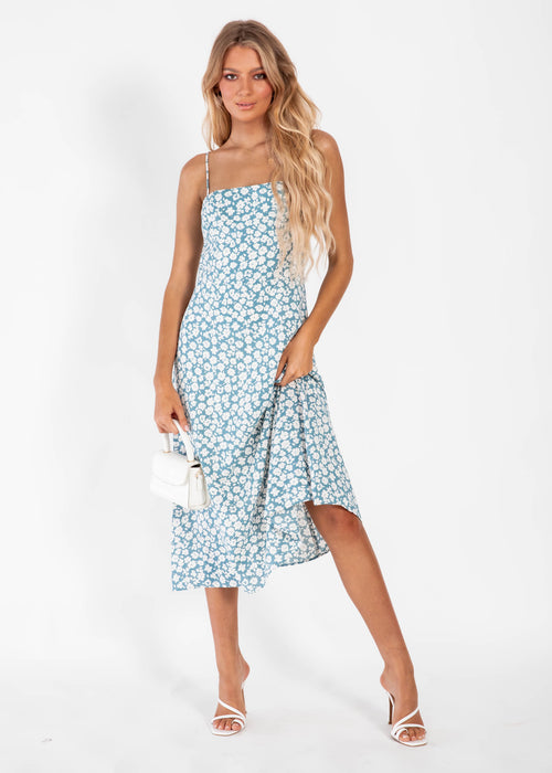 Olena Midi Dress - Blue Floral