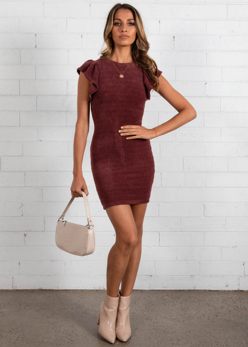 Rule The World Knit Dress - Plum
