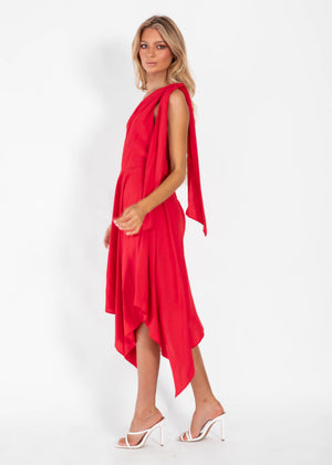Idalia One Shoulder Dress - Red