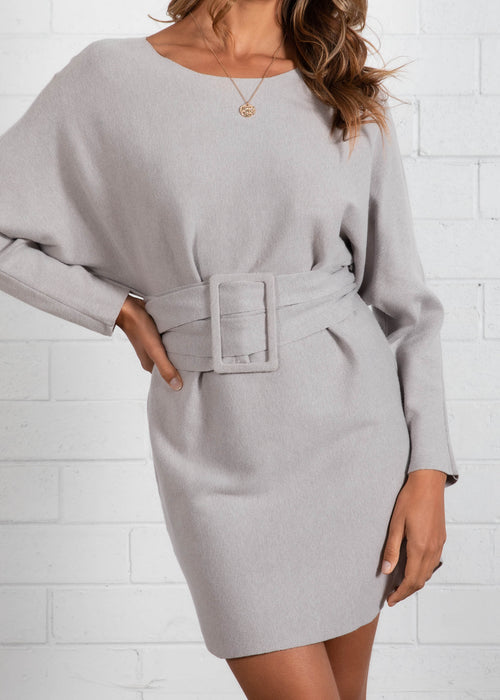 Miina Belted Knit Dress - Grey