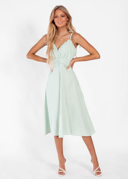Sunday Breeze Midi Dress - Sage