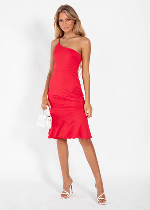 Set Me Up One Shoulder Midi Dress - Red