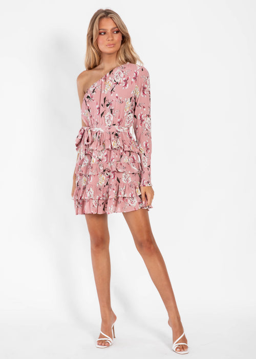 Poppy One Shoulder Dress - Blush Floral
