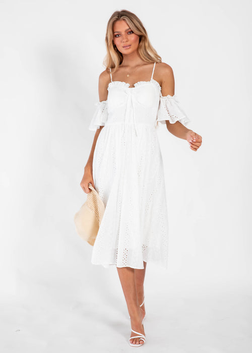Hampton Midi Dress - White Anglaise