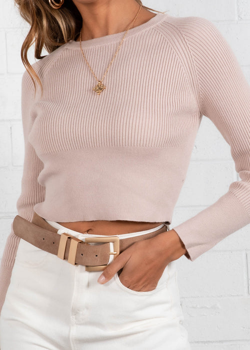 Zanzibar Cropped Knit Top - Beige