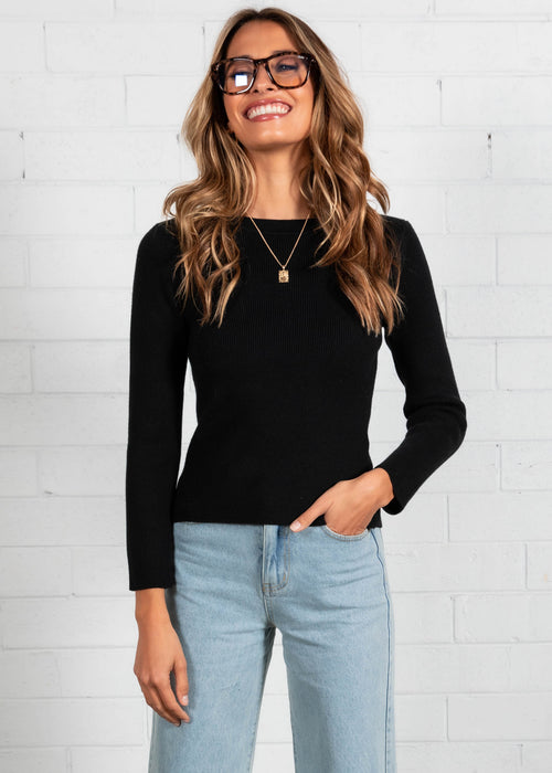 Trinnae Knit Top - Black