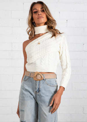 Zeta One Shoulder Knit Top - Cream