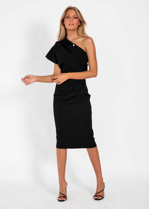 Over You One Shoulder Midi Dress - Black