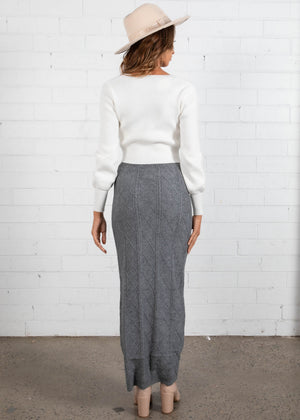 Zamara Knit Maxi Skirt - Grey